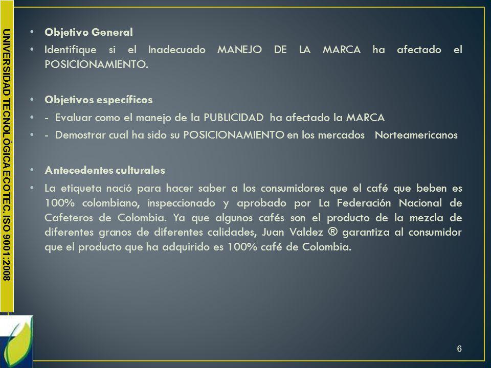 Objetivo General Identifique si el Inadecuado MANEJO DE LA MARCA ha afectado el POSICIONAMIENTO. Objetivos específicos.