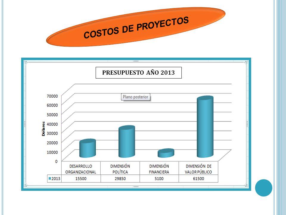 COSTOS DE PROYECTOS PRESUPUESTO AÑO 2013