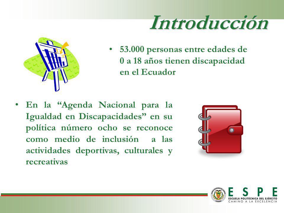 Introducción 53.000 personas entre edades de 0 a 18 años tienen discapacidad en el Ecuador.