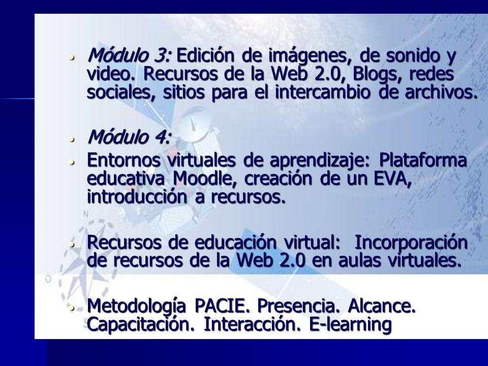 Módulo 3: Edición de imágenes, de sonido y video. Recursos de la Web 2