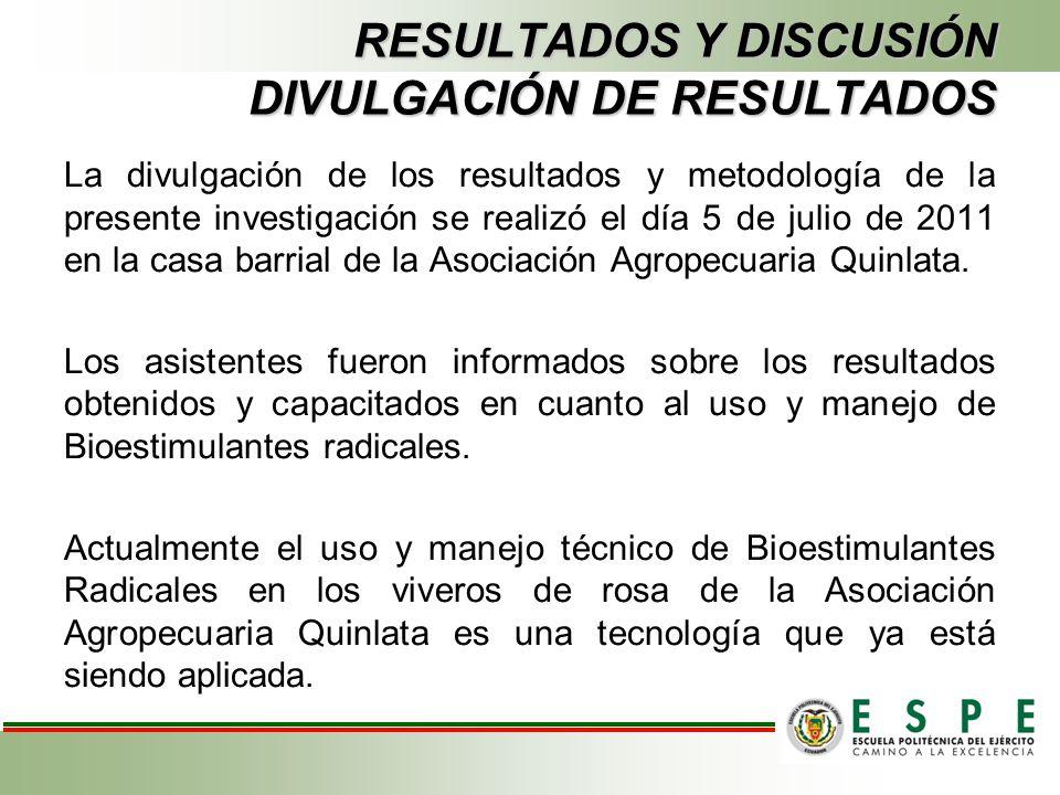 RESULTADOS Y DISCUSIÓN DIVULGACIÓN DE RESULTADOS