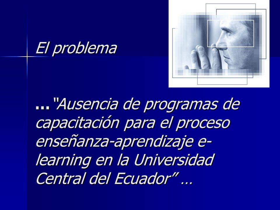 El problema … Ausencia de programas de capacitación para el proceso enseñanza-aprendizaje e-learning en la Universidad Central del Ecuador …