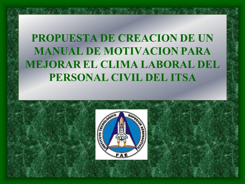 PROPUESTA DE CREACION DE UN MANUAL DE MOTIVACION PARA MEJORAR EL CLIMA LABORAL DEL PERSONAL CIVIL DEL ITSA