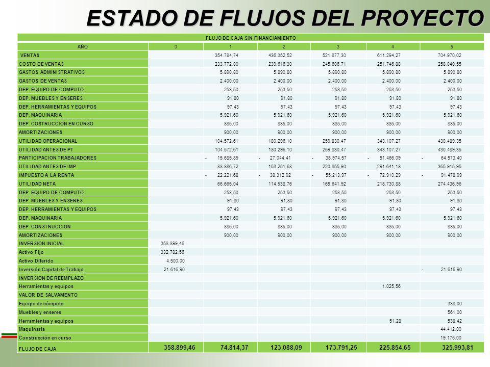 ESTADO DE FLUJOS DEL PROYECTO