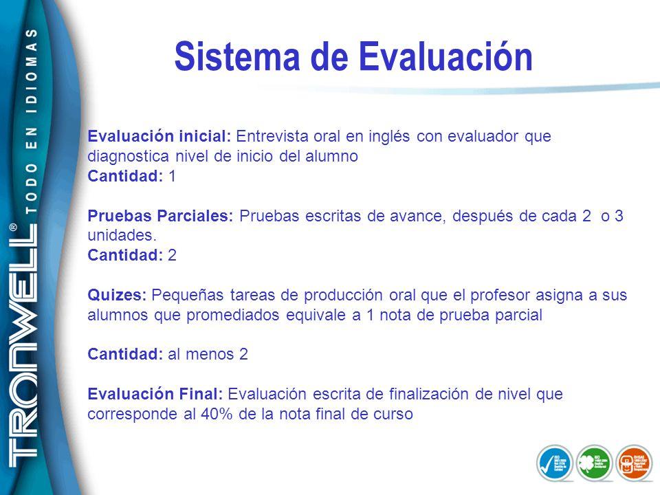 Sistema de EvaluaciónEvaluación inicial: Entrevista oral en inglés con evaluador que diagnostica nivel de inicio del alumno.