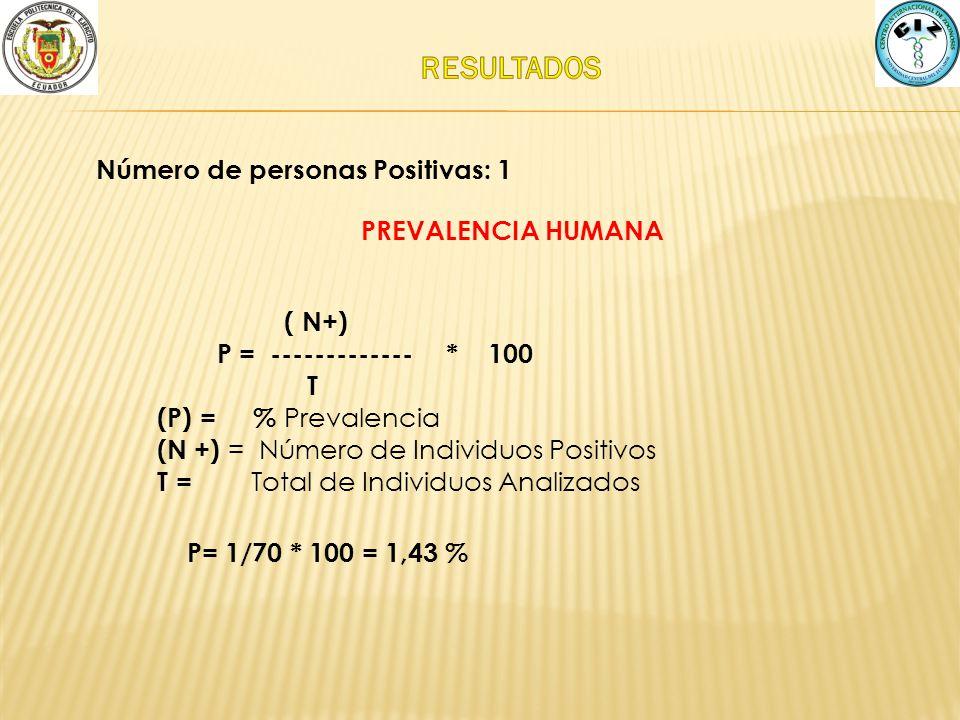 RESULTADOS Número de personas Positivas: 1 PREVALENCIA HUMANA ( N+)