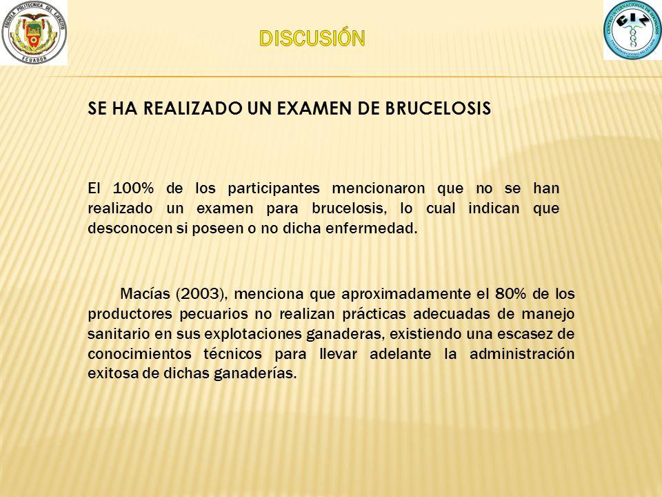 DISCUSIÓN SE HA REALIZADO UN EXAMEN DE BRUCELOSIS