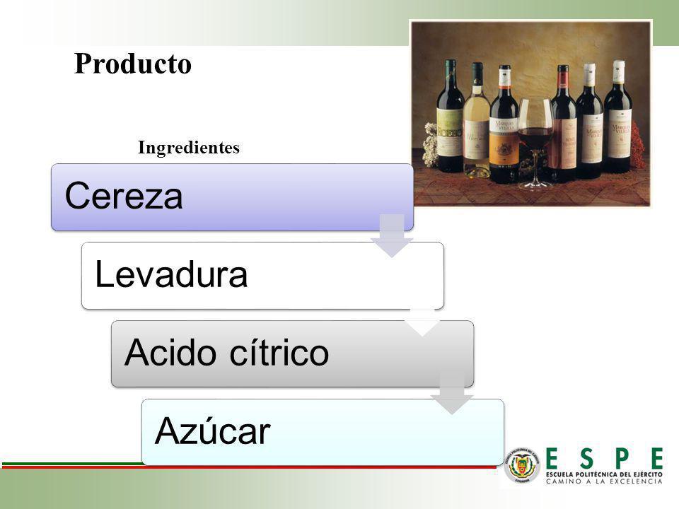 Producto Ingredientes Cereza Levadura Acido cítrico Azúcar