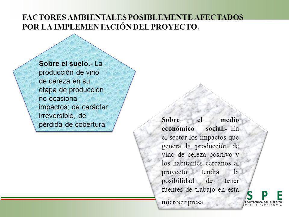 FACTORES AMBIENTALES POSIBLEMENTE AFECTADOS POR LA IMPLEMENTACIÓN DEL PROYECTO.