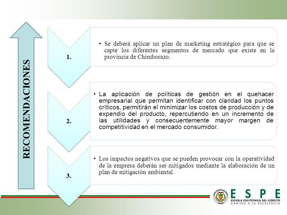 1. Se deberá aplicar un plan de marketing estratégico para que se capte los diferentes segmentos de mercado que existe en la provincia de Chimborazo.