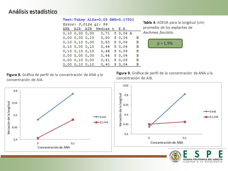 Análisis estadístico p = 1,9% Tabla 4. ADEVA para la longitud (cm)