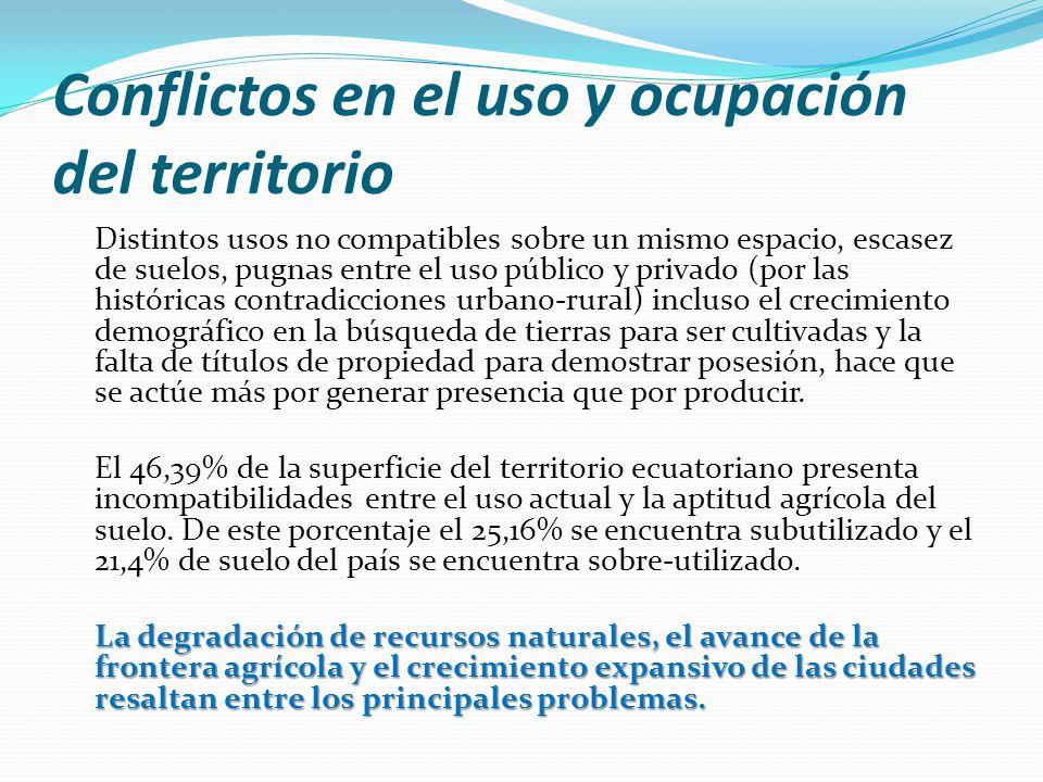 Conflictos en el uso y ocupación del territorio