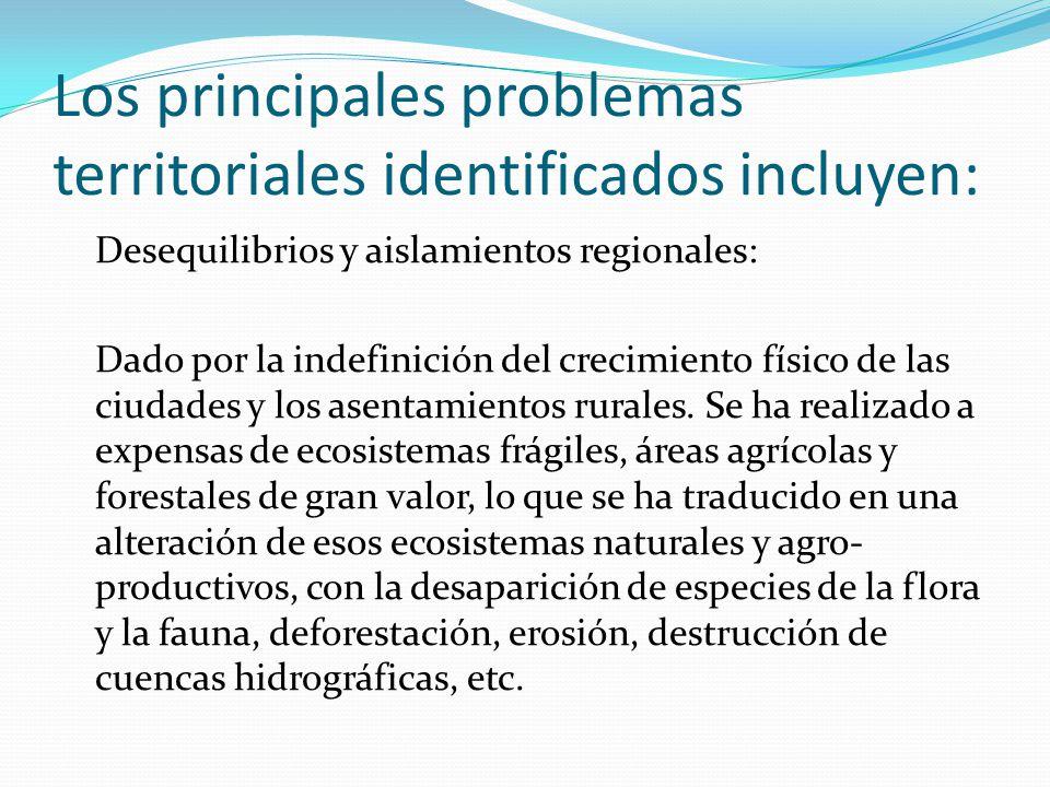 Los principales problemas territoriales identificados incluyen:
