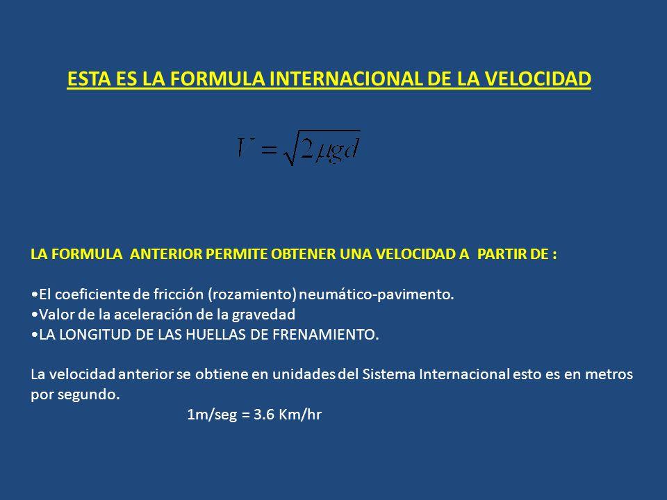 ESTA ES LA FORMULA INTERNACIONAL DE LA VELOCIDAD