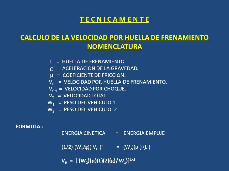 CALCULO DE LA VELOCIDAD POR HUELLA DE FRENAMIENTO NOMENCLATURA