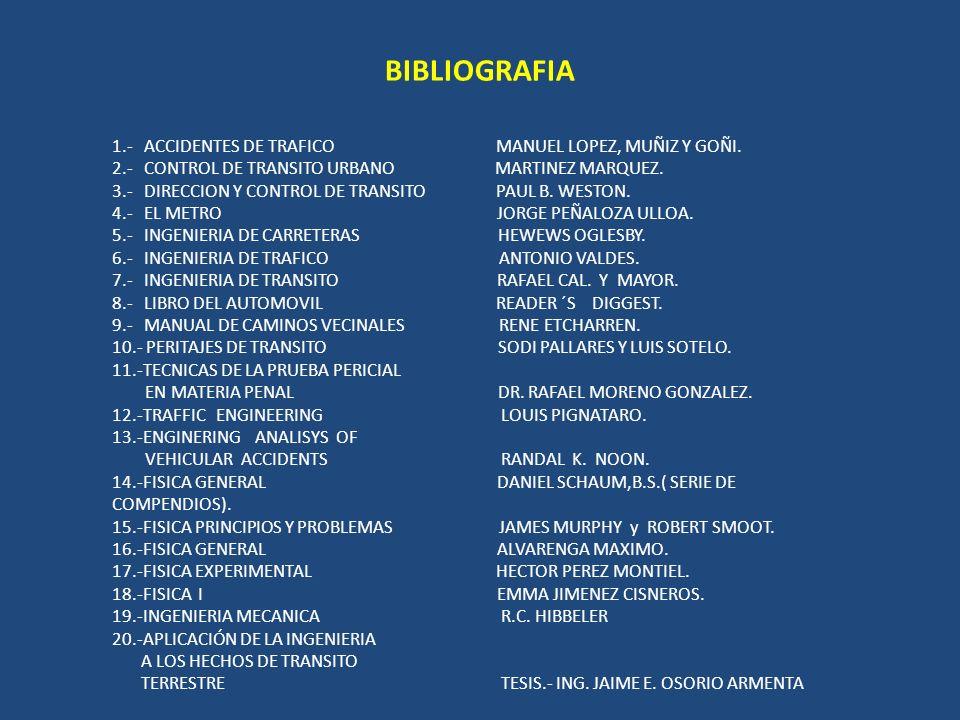 BIBLIOGRAFIA 1.- ACCIDENTES DE TRAFICO MANUEL LOPEZ, MUÑIZ Y GOÑI.