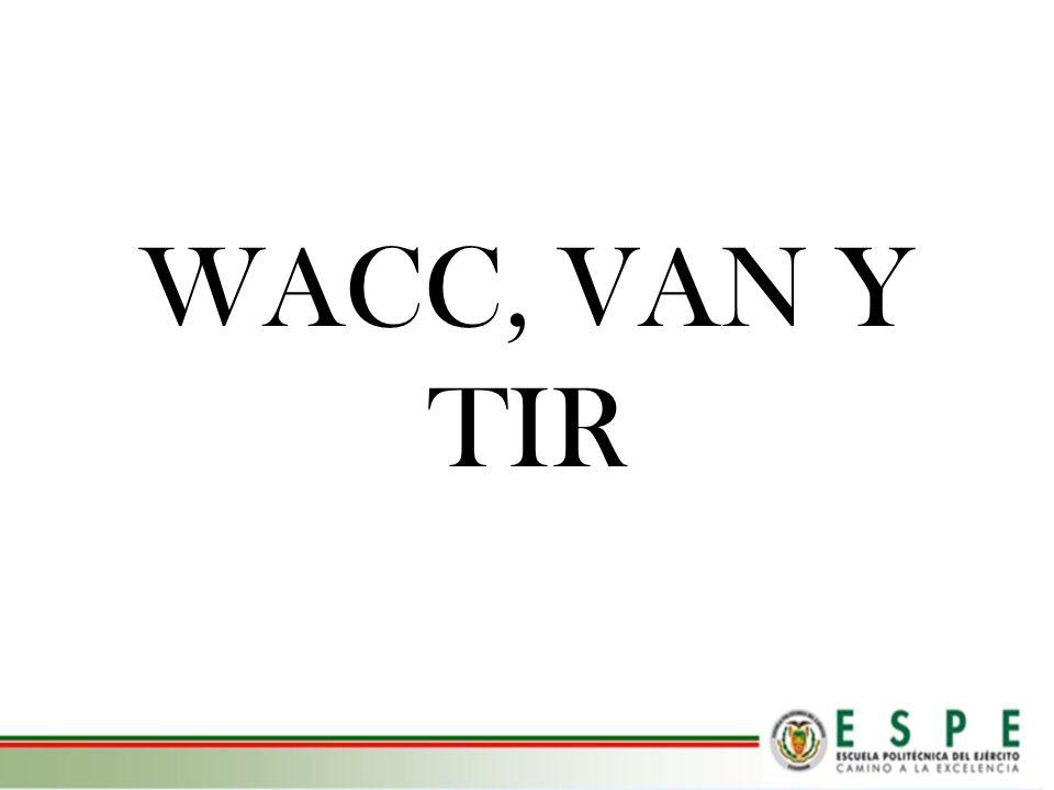 WACC, VAN Y TIR