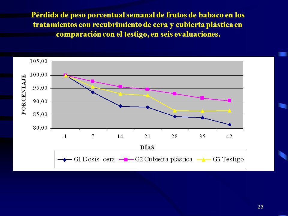 Pérdida de peso porcentual semanal de frutos de babaco en los