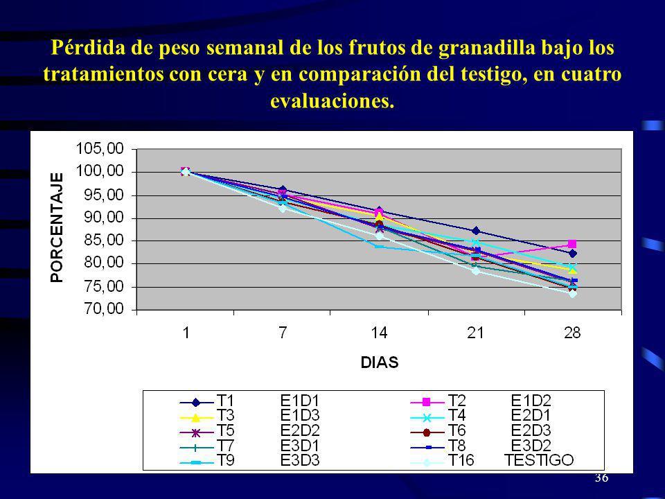 Pérdida de peso semanal de los frutos de granadilla bajo los tratamientos con cera y en comparación del testigo, en cuatro evaluaciones.