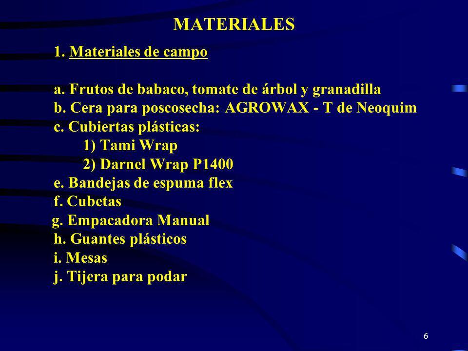 MATERIALES a. Frutos de babaco, tomate de árbol y granadilla