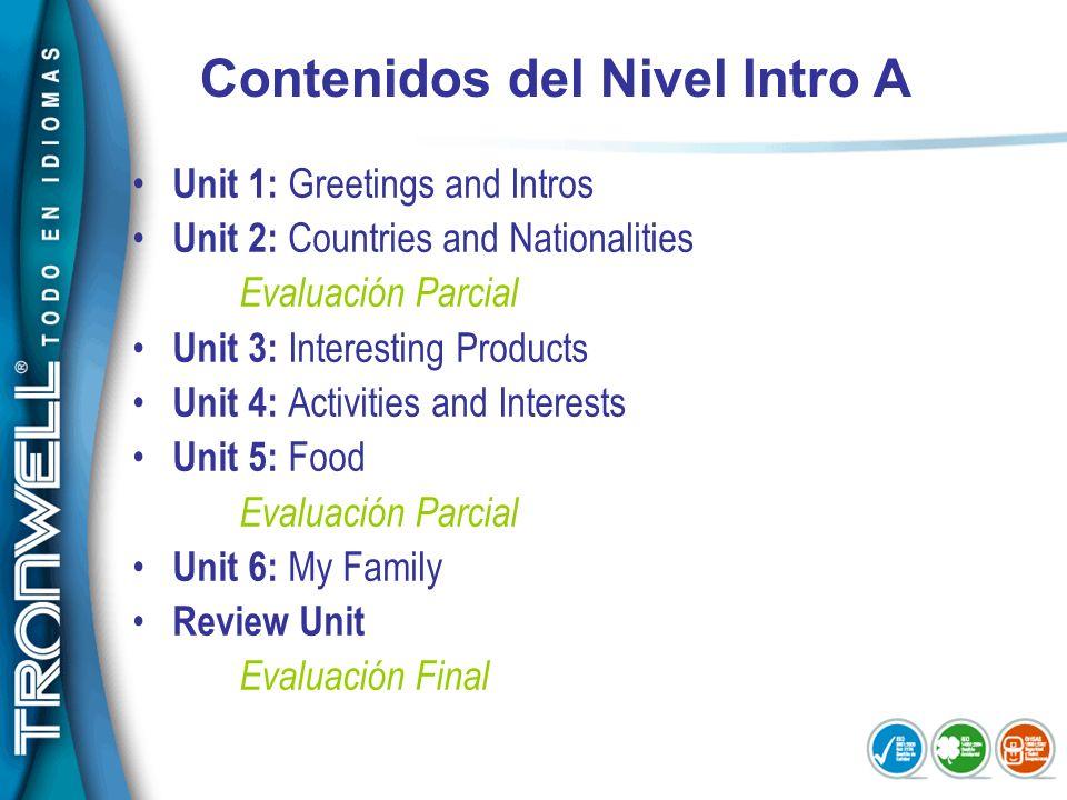 Contenidos del Nivel Intro A