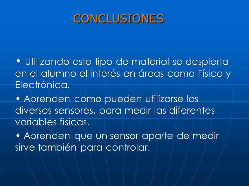CONCLUSIONES Utilizando este tipo de material se despierta en el alumno el interés en áreas como Física y Electrónica.