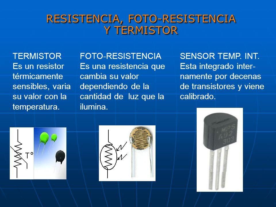 RESISTENCIA, FOTO-RESISTENCIA Y TERMISTOR