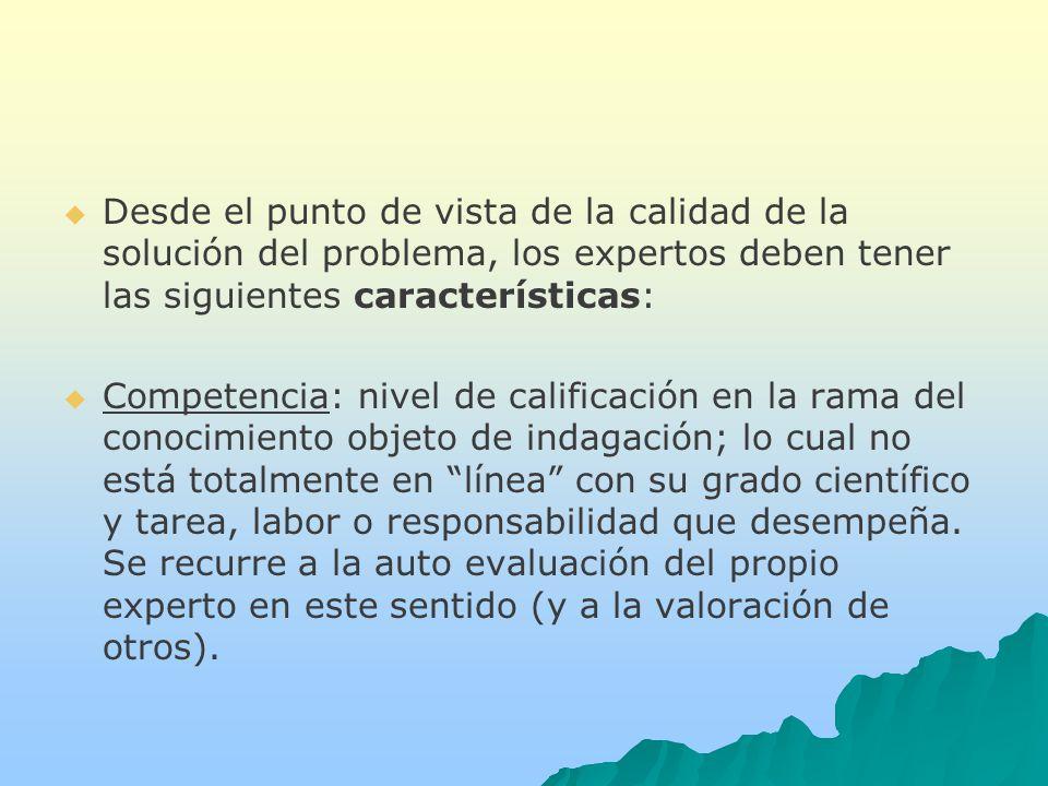 Desde el punto de vista de la calidad de la solución del problema, los expertos deben tener las siguientes características: