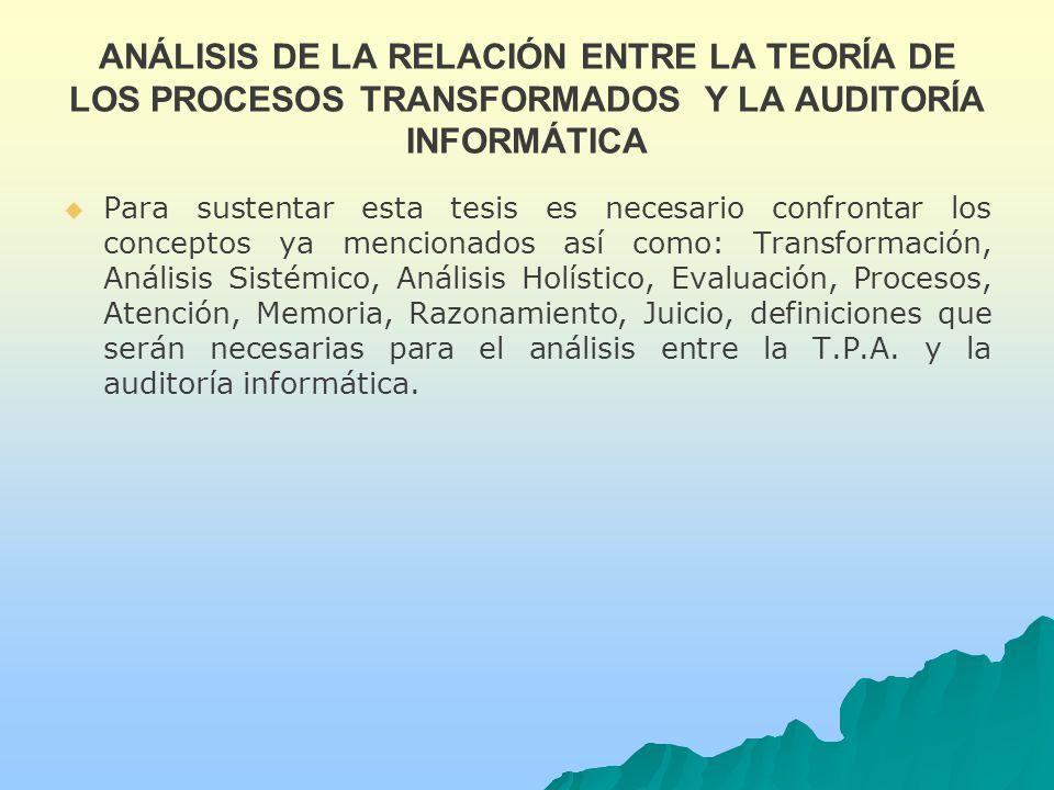 ANÁLISIS DE LA RELACIÓN ENTRE LA TEORÍA DE LOS PROCESOS TRANSFORMADOS Y LA AUDITORÍA INFORMÁTICA