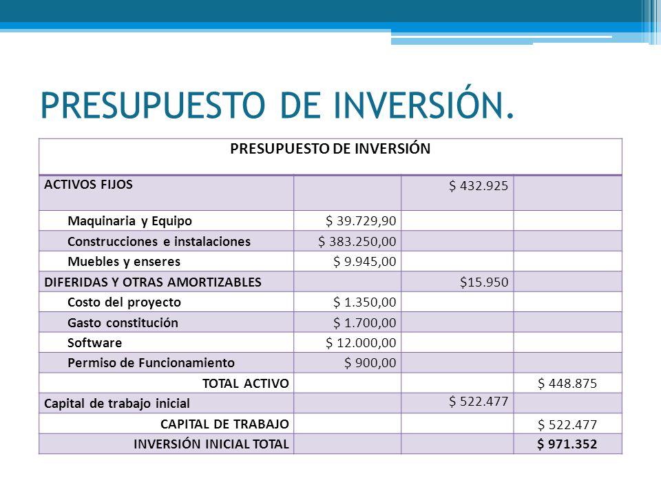 PRESUPUESTO DE INVERSIÓN.
