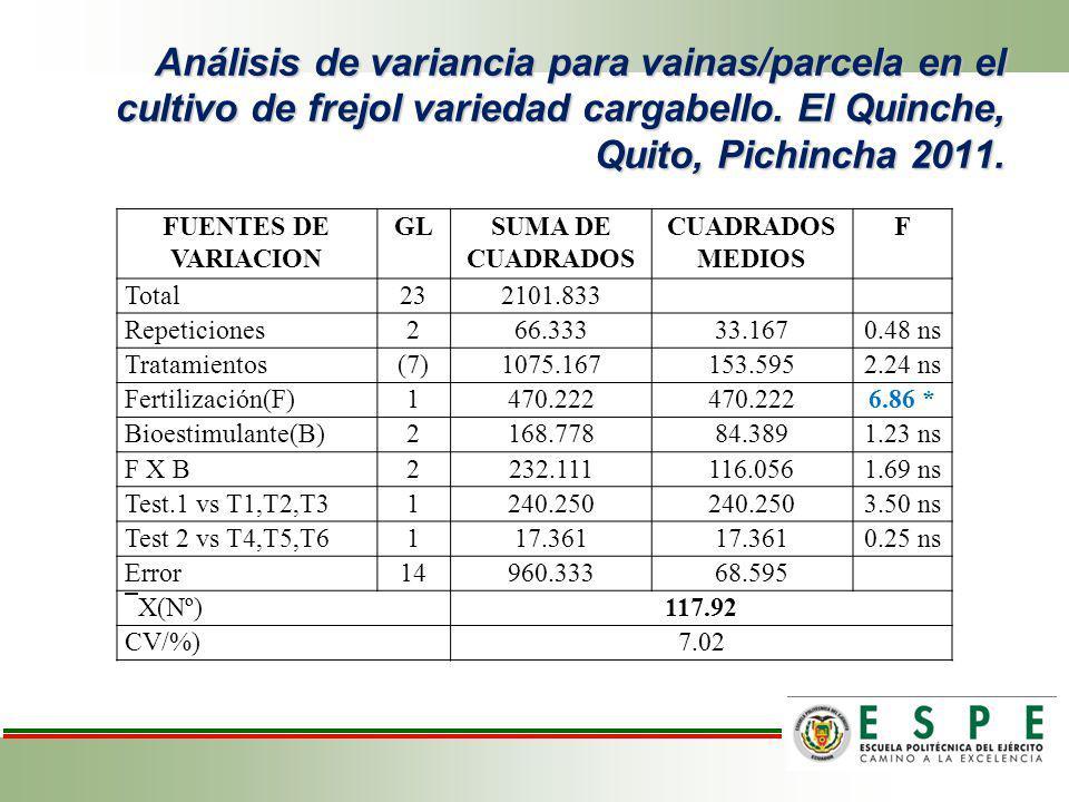 Análisis de variancia para vainas/parcela en el cultivo de frejol variedad cargabello. El Quinche, Quito, Pichincha 2011.