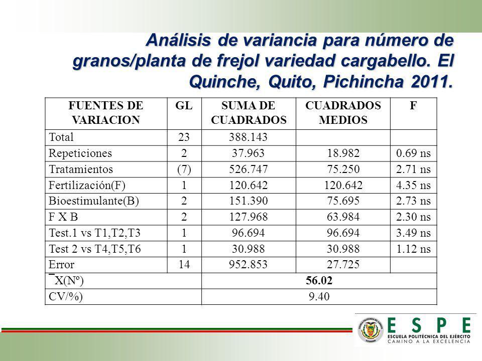 Análisis de variancia para número de granos/planta de frejol variedad cargabello. El Quinche, Quito, Pichincha 2011.