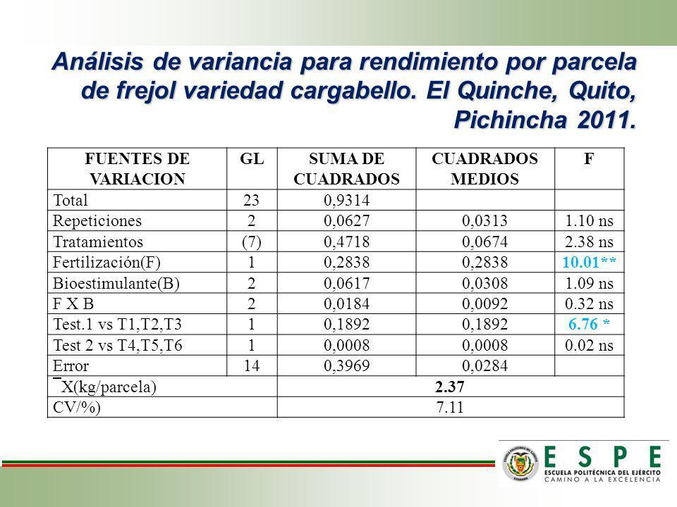 Análisis de variancia para rendimiento por parcela de frejol variedad cargabello. El Quinche, Quito, Pichincha 2011.