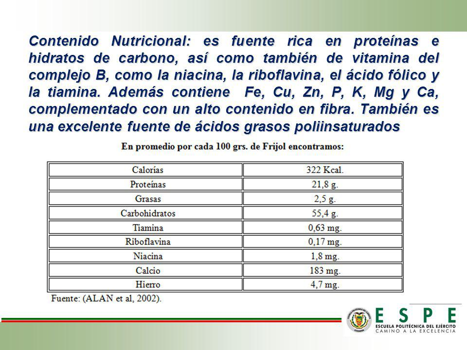Contenido Nutricional: es fuente rica en proteínas e hidratos de carbono, así como también de vitamina del complejo B, como la niacina, la riboflavina, el ácido fólico y la tiamina.