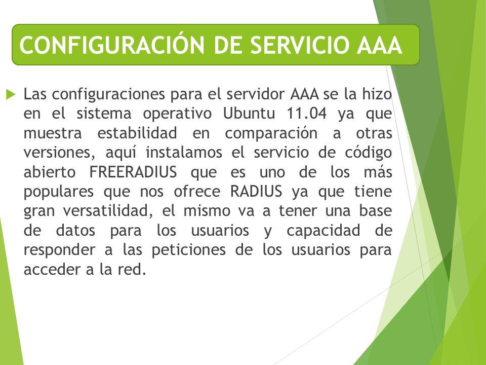 CONFIGURACIÓN DE SERVICIO AAA