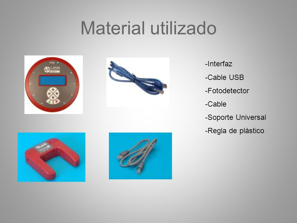 Material utilizado Interfaz Cable USB Fotodetector Cable