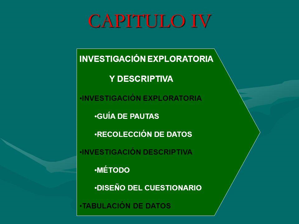 CAPITULO IV INVESTIGACIÓN EXPLORATORIA Y DESCRIPTIVA GUÍA DE PAUTAS