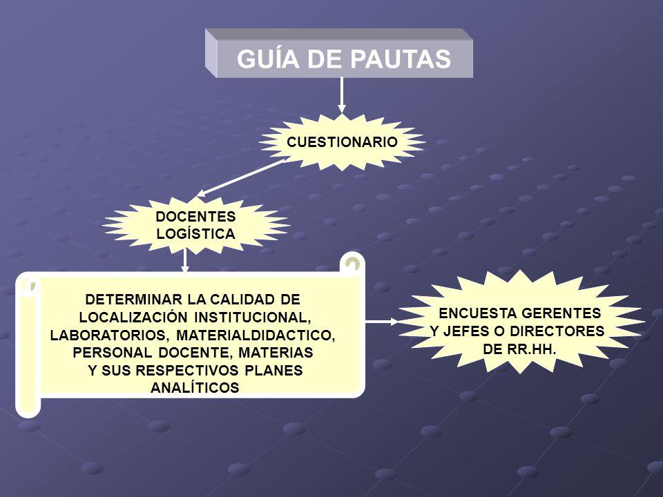 GUÍA DE PAUTAS CUESTIONARIO DOCENTES LOGÍSTICA