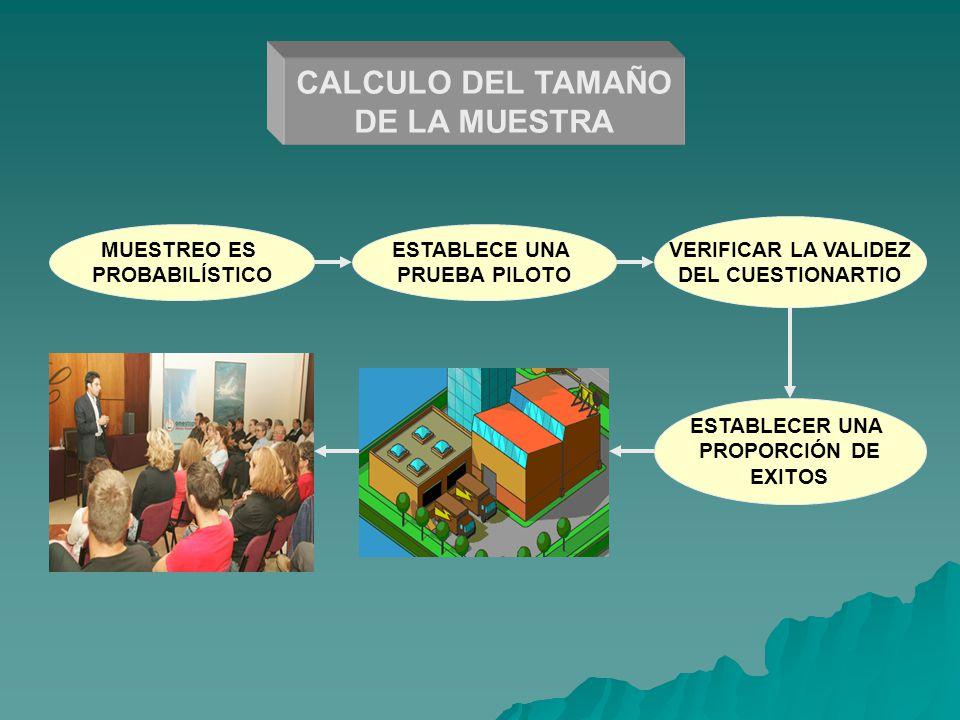 CALCULO DEL TAMAÑO DE LA MUESTRA
