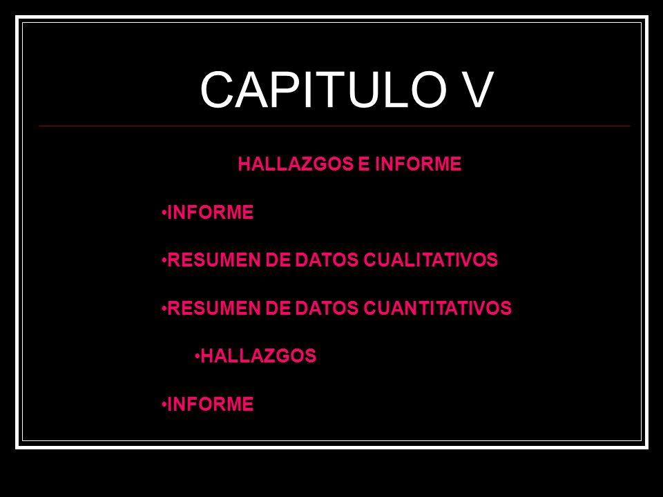 CAPITULO V HALLAZGOS E INFORME INFORME RESUMEN DE DATOS CUALITATIVOS