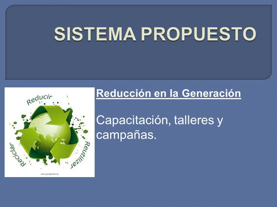 Reducción en la Generación Capacitación, talleres y campañas.