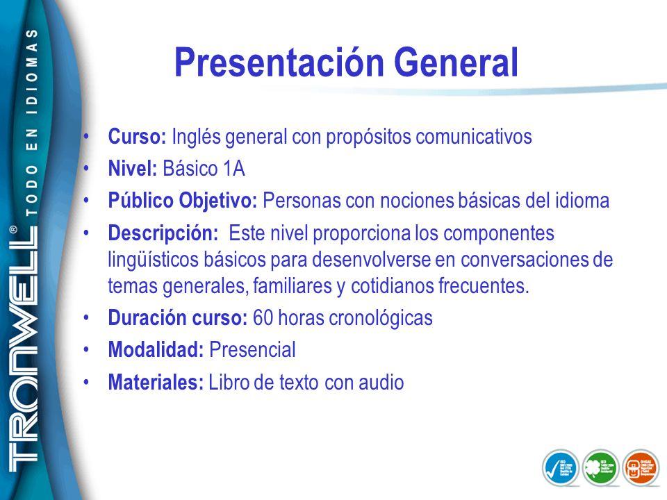 Presentación General Curso: Inglés general con propósitos comunicativos. Nivel: Básico 1A.