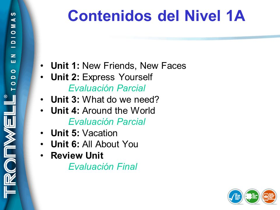 Contenidos del Nivel 1A Unit 1: New Friends, New Faces