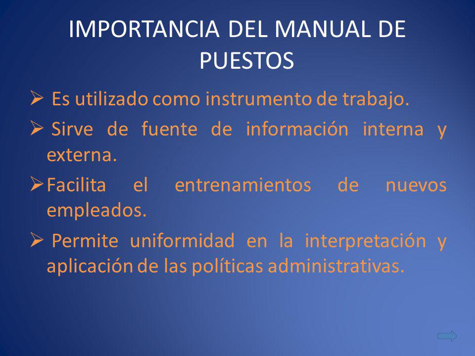 IMPORTANCIA DEL MANUAL DE PUESTOS