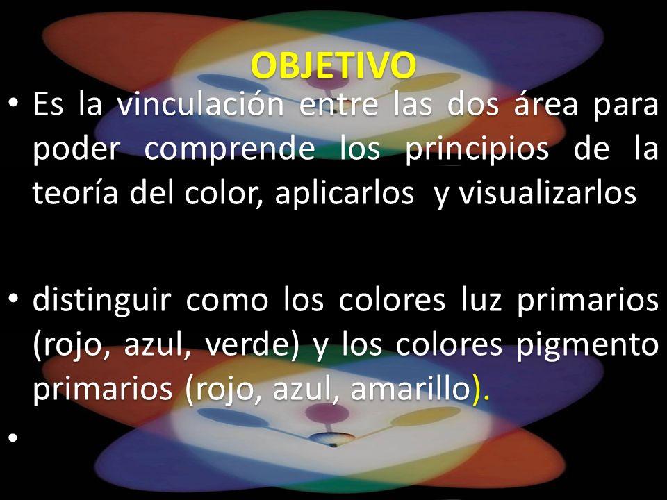OBJETIVO Es la vinculación entre las dos área para poder comprende los principios de la teoría del color, aplicarlos y visualizarlos.