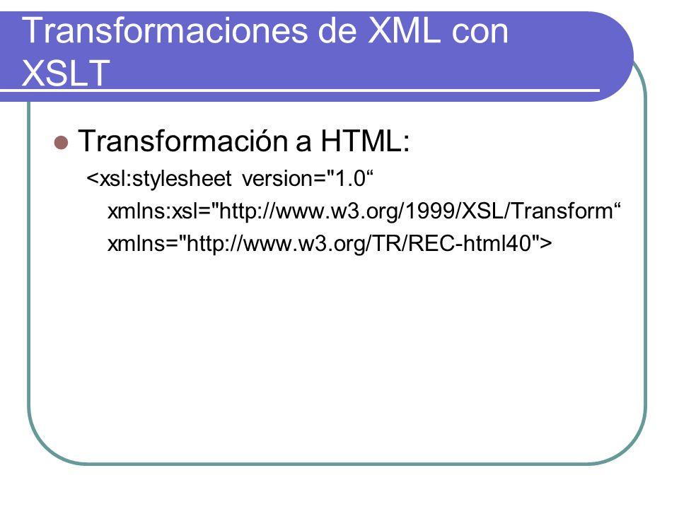 Transformaciones de XML con XSLT