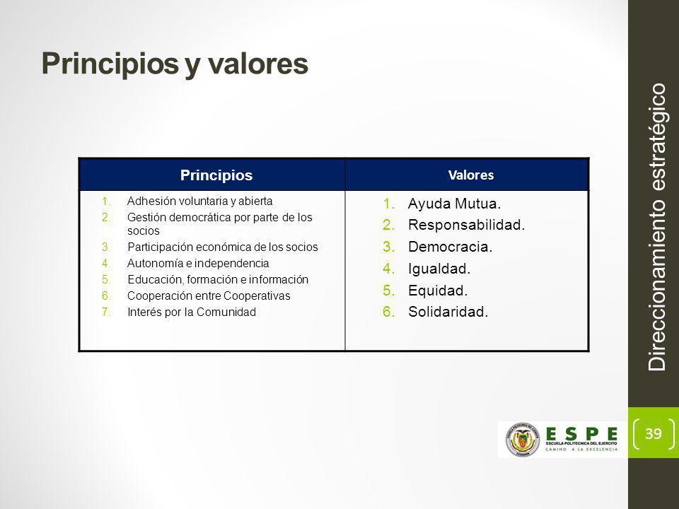 Principios y valores Direccionamiento estratégico Principios Valores