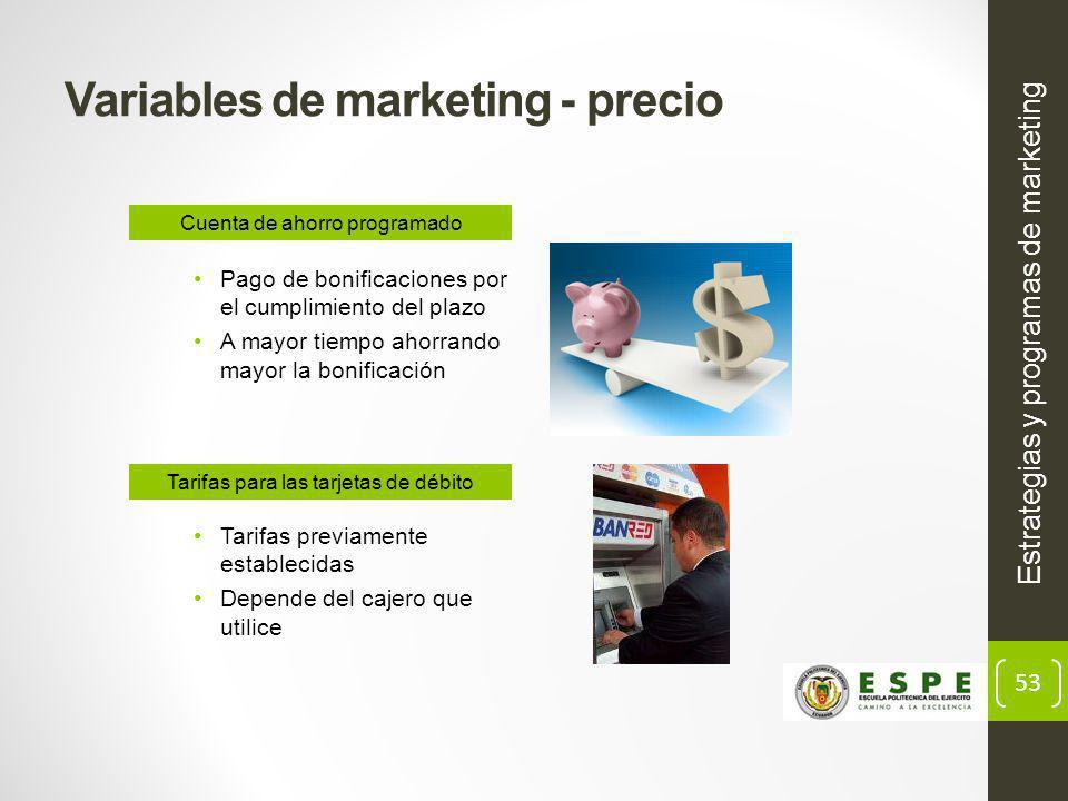 Variables de marketing - precio