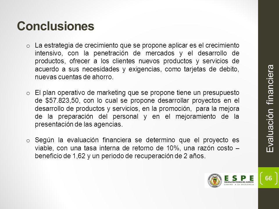 Conclusiones Evaluación financiera