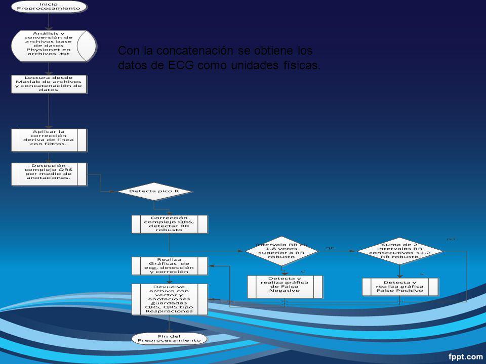 Con la concatenación se obtiene los datos de ECG como unidades físicas.